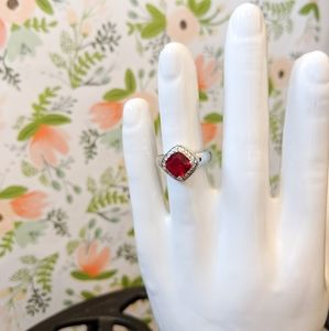 Red Crystal Square Ring - Size 6